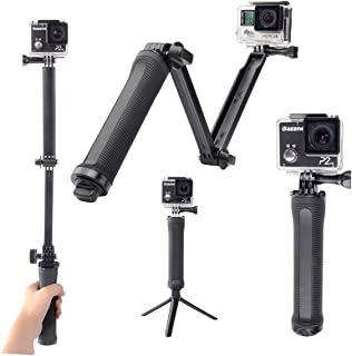 Eoogere GoPro対応3Way 自撮り棒アクセサリー 軽量 アングル調整可能 Gopro Xiaoyi SJCAMなどのアクションカメラに対応