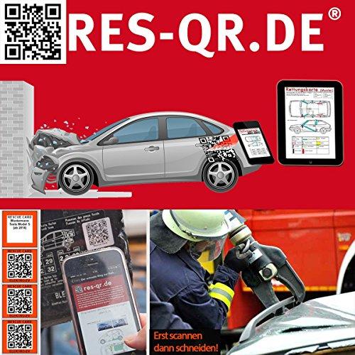 Skoda Yeti ab 2009: QR-Etiketten-Nachrüst-Satz für Zugang zur digitalen Rettungskarte (3 Etiketten plus Hinweisplakette