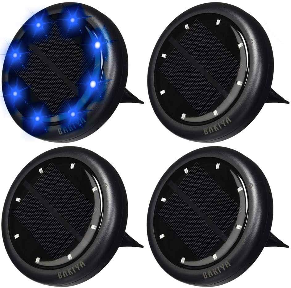 Genuine Free Shipping Bakiya Blue 8 LED Disk Rare Waterproof Ground Pathway Ligh Solar Deck