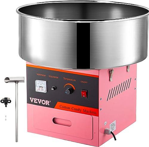 VEVOR Machine à Barbe à Papa Commerciale Rose Bol en Acier Inox 53 cm 1000 W avec 1 x Cuillère à Sucre et 2 x Brosses...