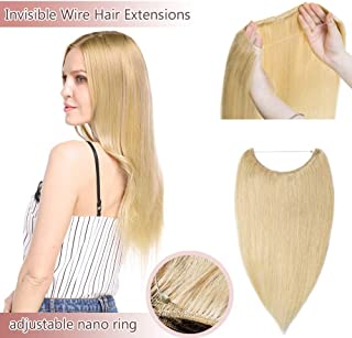 Hidden Invisible Crown Human Hair Extensions One Piece Secret Miracle Wire In Hairpiece With Transparent Fish Line Headband No Clips No Tape For Women #613 Bleach Blonde 22'' 75g
