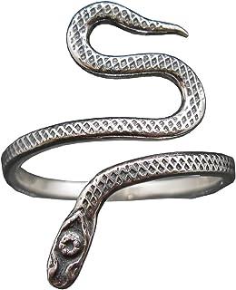 Anillo de Plata de Ley Serpiente Sólido Estampado 925 Hecho a Mano R002143