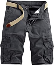 vermers Men's Cargo Shorts Casual Pure Color Outdoors Beach Short Pants Work Trouser with Pocket