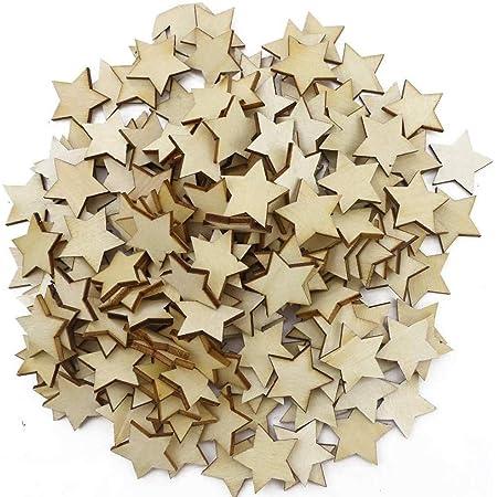 100 pcs MIX of MINI STARS  UNPAINTED BLANK WOODEN SHAPE EMBELLISHMENTS CRAFT
