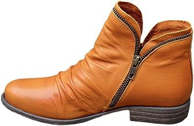 Stivali Donna Moda Casual Retro Tinta Unita Scarpe Corte con Cerniera alla Caviglia