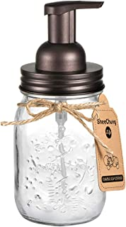 Mason Jar Foaming Soap Dispenser - Rustproof Stainless Steel Mason Jar Lid and Foaming Soap Pump,Best Hand Foam Soap Dispenser Glass for Bathroom Vanities or Kitchen Sink,Countertops - Bronze (1 Pack)