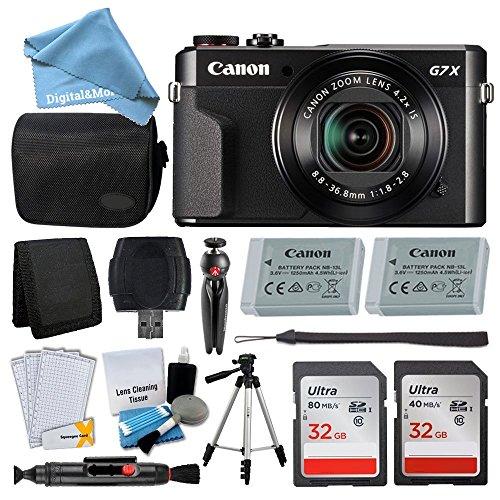 Canon PowerShot g7X Mark IIデジタルカメラキット+ 32GBカード+デジタルカメラケース+品質三脚+ USBカードリーダー+スクリーンプロテクター+メモリ財布+ digitalandmore