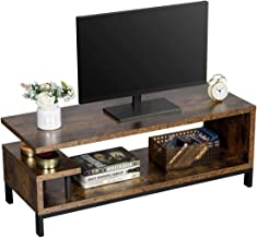 $83 » Yaheetech Industrial TV Stand up to 55 Inches for Living Room, Media Entertainment Center Storage Console Table for Flat Screen, Wood Look with Metal Legs, Easy Assembly, Rustic Brown