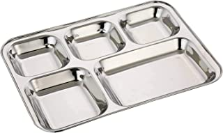 Wiaa Stainless Steel Lunch, Dinner Plate & Gujarati Thali | Mess Tray | Marriage Plate | 5 in 1 Compartment Dining Set | M...