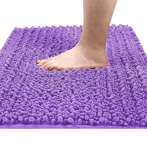 Yimobra Original Luxury Chenille Bath Mat, 31.5 X 19.8 Inches, Soft Shaggy and Comfortable, Large Size, Super Absorbent and Thick, Non-Slip, Machine Washable, Perfect for Bathroom, Lavender