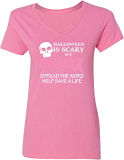 CAMALEN Breast Cancer Awareness Halloween is Scary but Cancer is Deadly Women's V-Neck