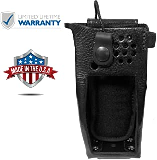 Leather Swivel Style Belt Holster Case for Motorola XPR 7550 Two Way Radios (Includes Metal D-Rings)