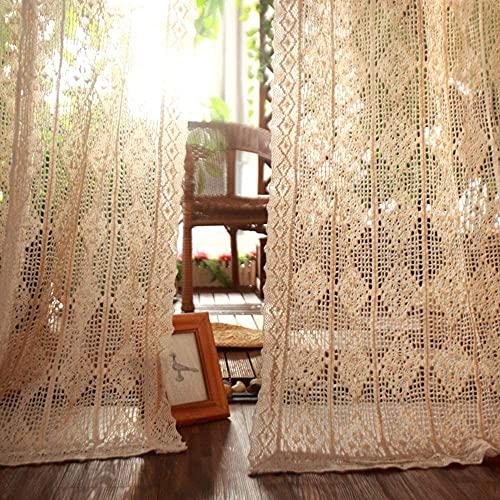 Cortina Opaca para Ventana, Paneles de estilo americano, vintage retro hueco tallado de ventanas tallado cortinas paneles de tratamiento, para casa de campo Patio Villa Beige 180 * 260cm (71 * 102 pul