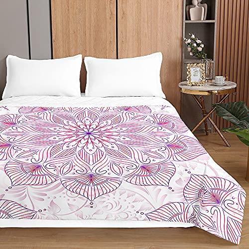 Colcha de Verano Cubrecama Colcha Bouti, Chickwin 3D Mandala Ligero Edredón Manta de Dormitorio Suave Multiuso Colchas para Cama Individual Matrimonio (Loto Rosa Mandala,230x280cm)