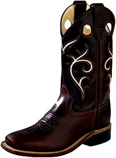 Old West Boys' Swirl Western Cowboy Boot Square Toe Brown