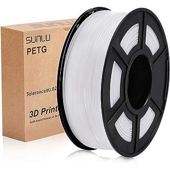 PETG 3D Printer Filament, SUNLU PETG Filament 1.75mm Dimensional Accuracy +/- 0.02 mm, 1 kg Spool, PETG White