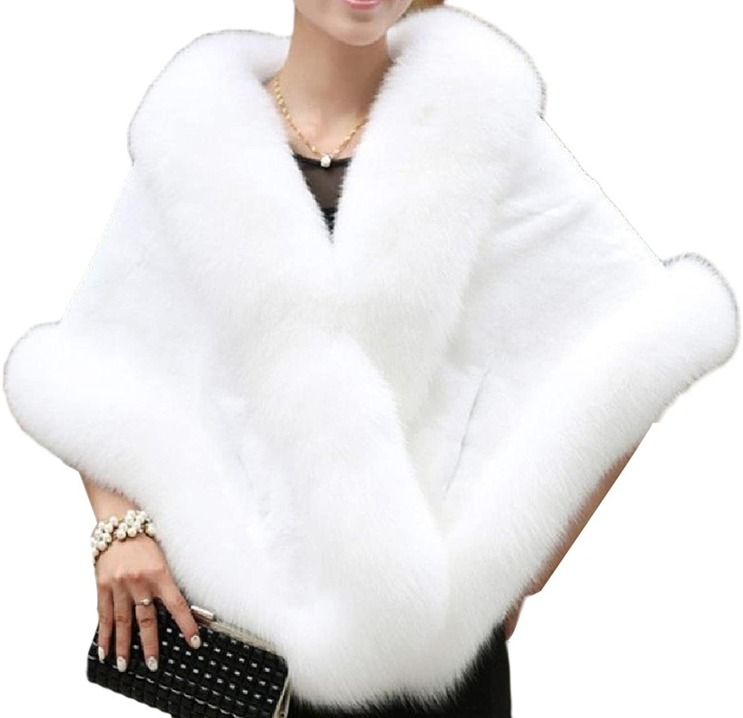 Doanpa Women's Loose Fit Poncho Faux Fur Comfort Soft Wrap Shawl