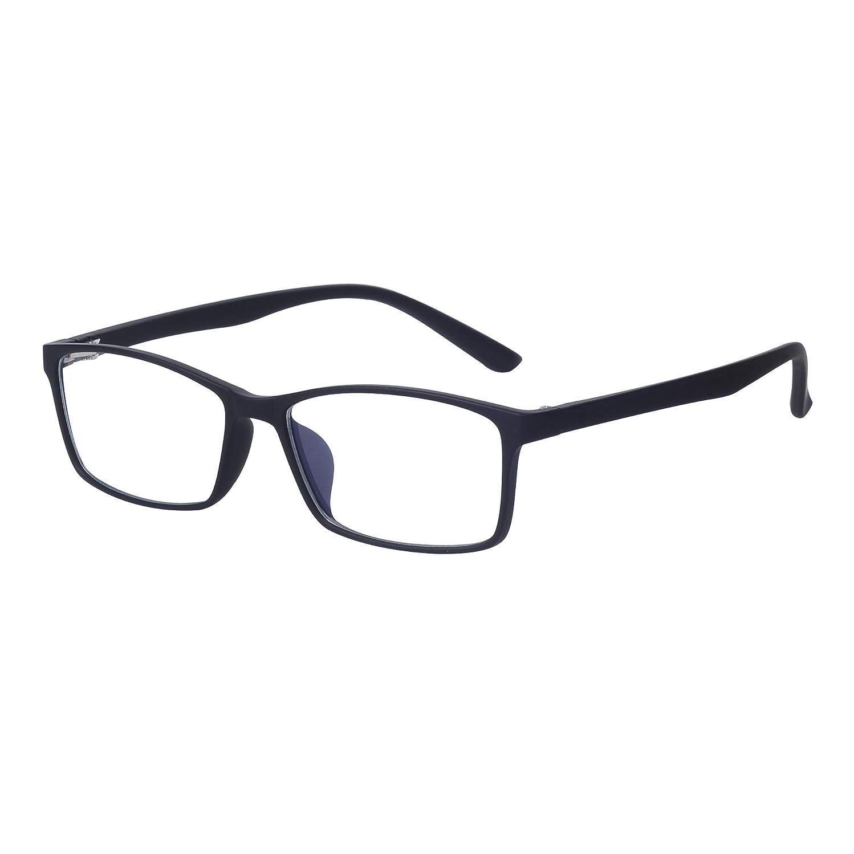 Blue Light Blocking Computer Glasses Men/Women - Anti Eyestrain - Transparent Lens TR90 Frame with Case