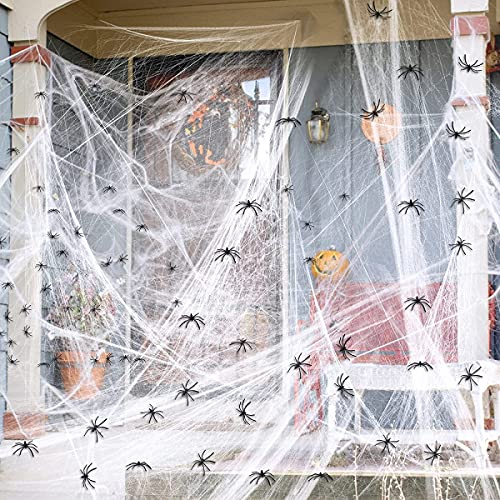 Halloween telarañas,200G Halloween tela de araña con 30 Arañas,Halloween decoracion terror, Decoración Adornos Fiesta Halloween,Decoracion halloween para casa,telarañas halloween baratas (200G)