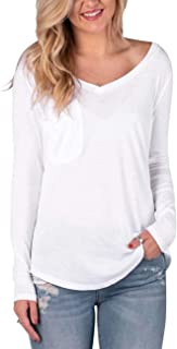 Damissly Women's V Neck Tee Shirts Loose Plain Casual Summer Basic Tunic Tops Blouses with Pocket