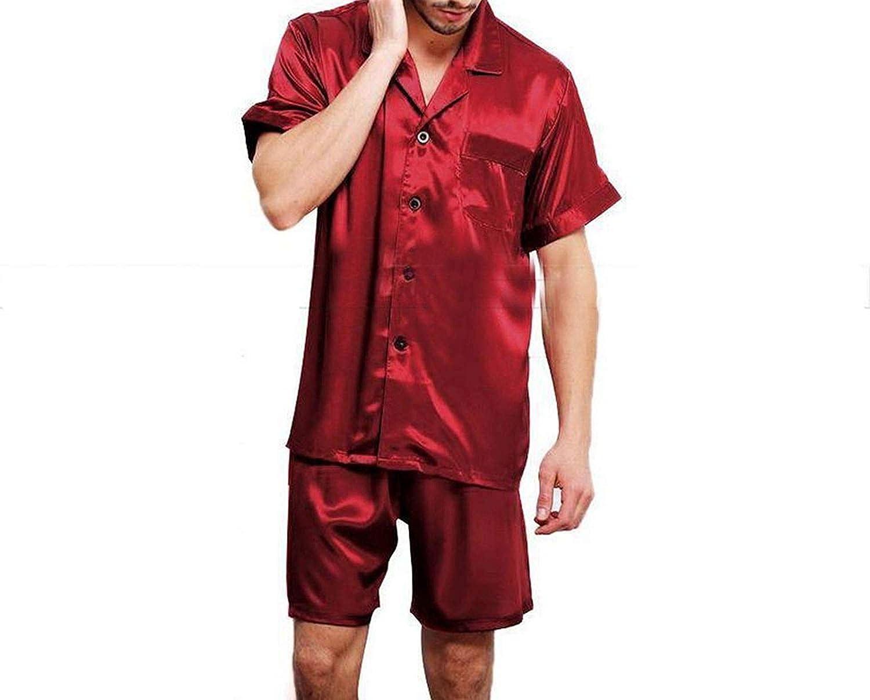 Soft Mens Silk Satin Pajamas Short Set Sleepwear Loungewear