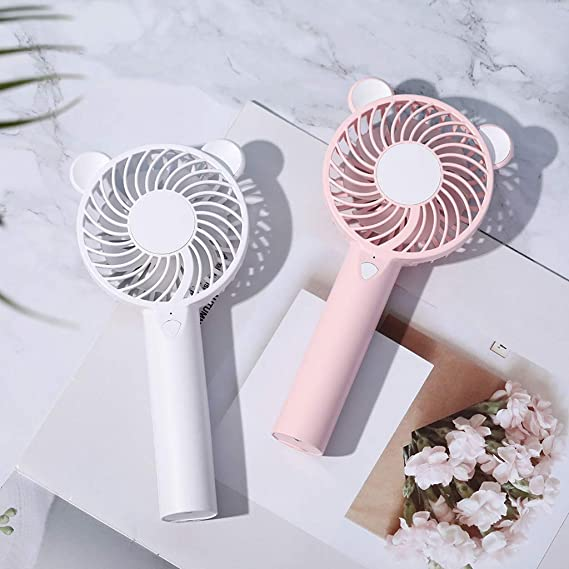 Seaskyer Mini Fan,Cute Bear Cartoon Handheld USB Rechargeable Fan with LED Light Cooler Portable 3 Speed Adjustable Desktop Cooling Fan White