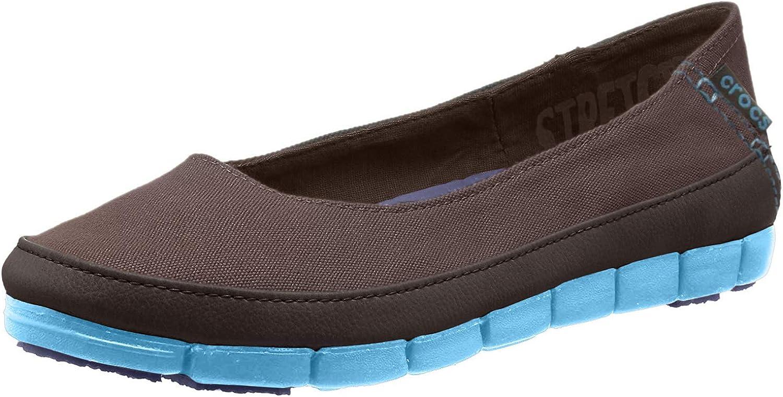crocs Women's Stretch Sole Flat 15317 Slip-On Loafer, Espresso/Electric Blue, 8 M US