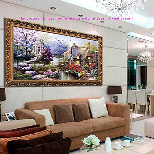 Decdeal DIY Handmade Needlework Cross Stitch Set Embroidery Kit Precise Printed Garden Cottage Design Cross-Stitching 64 37cm Home Decoration