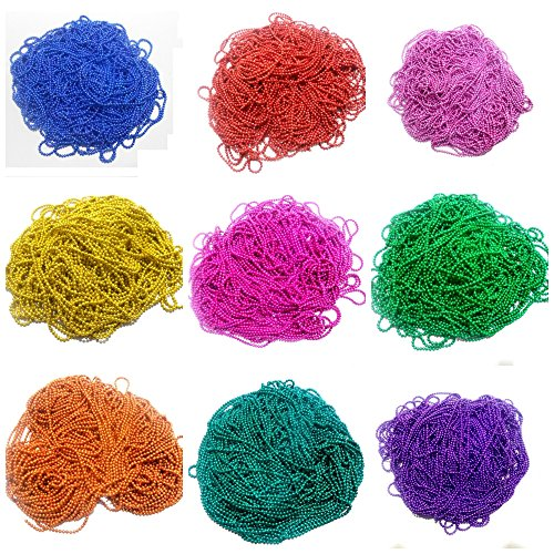 GOELX Ball Chains Shiny & Glittery - Combo of 9 Colours for Jewellery Making/Designing & Craft Work !! 2 Mtr in Each Color !! Blue, Golden, Orange, Red, Rama Green, Pink, Rani Pink, Purple & Green