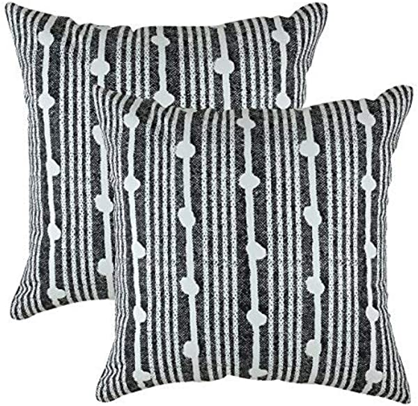 TreeWool Decorative Square Throw Pillowcases Set Spots Accent 100 Cotton Cushion Cases Pillow Covers 18 X 18 Inches 45 X 45 Cm Black In Cream Background Pack Of 2
