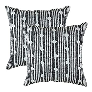 TreeWool, Pack of 2, Throw Pillow Cover Spots Accent 100% Cotton Decorative Square Cushion Cases (18 x 18 Inches / 45 x 45 cm; Black in Off-White Background)