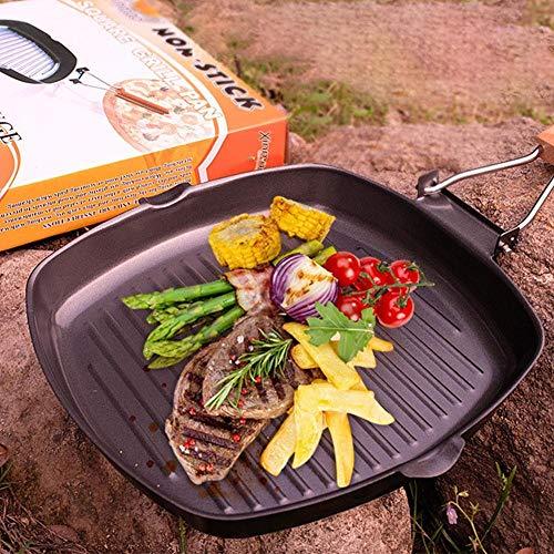 EDCV koekenpan met antiaanbaklaag Opvouwbaar handvat Gietijzer BBQ-keuken 20/24/28 cm Pan-bakplaat Makkelijk schoon te bakken, 24 cm