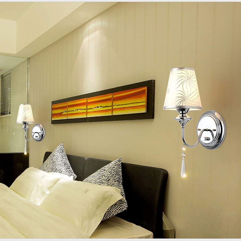 GCCI Sache Gilt Einfache Wand Schlafzimmer Nordic Moderne Kristall Nachttischlampe mit Lichtschalter runde Kreative Dekoration