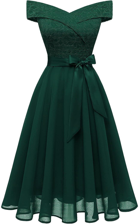 Bbonlinedress Women's Short Lace Bridesmaid Dress A-Line Vintage Off Shoulder Floral Lace Chiffon Wedding Dress