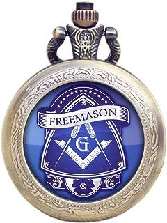 1a08c56d1 Masón Masónico azul Coar de armas efecto Retro/Vintage caso reloj de cuarzo  de bronce