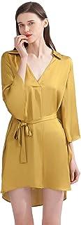 Lazyfairy الحرير بيجامة فستان للنساء رقبة على شكل V مع حزام ملابس نوم، ثوب نوم للنساء، قميص نوم للنساء