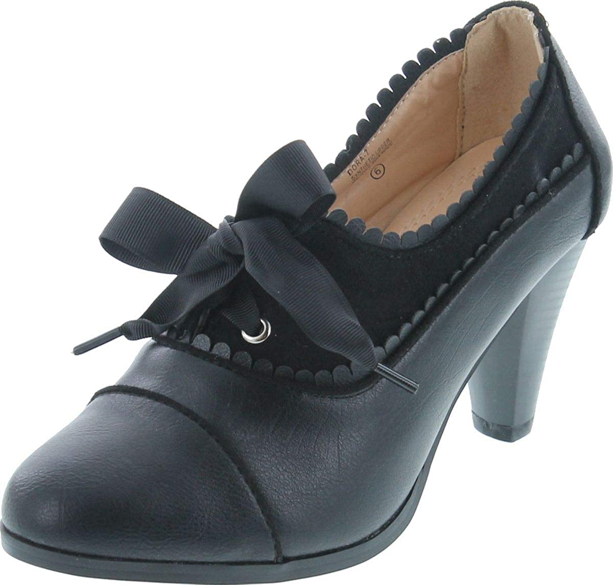 History of Victorian Boots & Shoes for Women Chase & Chloe Dora-7 Lace-Up Vintage Cut-Out Womens Heeled Oxford  AT vintagedancer.com