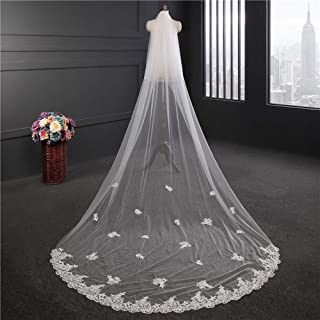 Wedding Veil,Bridal Veil Korean Style Long Tail Water Soluble Lace Wedding Veil,Long Soft Veil Elegant 2-Tier Tulle Wedding Veil with Comb