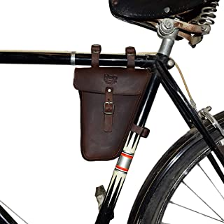 Hide & Drink, Leather Frame Bag for Bicycle/Triangular/Bike/Tool Pouch/Accessories/Biker Essentials, Handmade :: Bourbon Brown