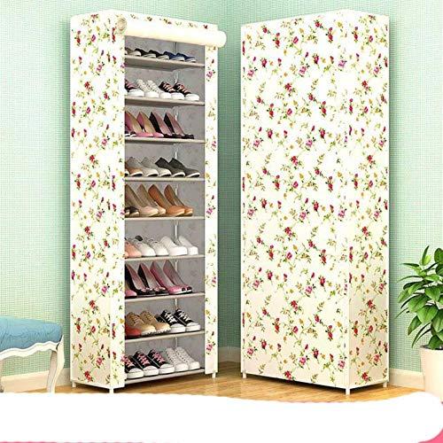 10 capas de tela no tejida zapatero DIY Asamblea almacenamiento zapatos gabinete de pie a prueba de polvo casa zapatos organizador Shlef re-flor