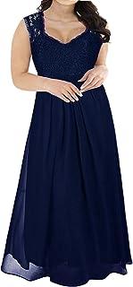 a7b97e2ab17 Nemidor Women s Deep- V Neck Sleeveless Vintage Plus Size Bridesmaid Formal  Maxi Dress