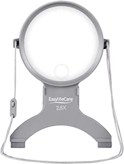EasyLifeCare Hands Free Chest Rest LED Magnifier - Neck Wear Visual Aid Illuminated Magnifying Glass for Low Vision & Visually Impaired Seniors - Portable