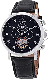 Men's 'Acropolis' Stainless Steel and Leather Automatic Watch, Color:Black (Model: LP-40021A-01)