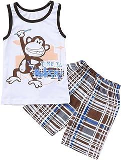 Conjuntos para Bebes niños Verano 2018 Ropa para niños Bautizo Camisetas + Pantalones Corta Impresion Mono y Cuadros Sin Manga de 18 Meses 24 Meses 3 años 4 años 5 años 6 años