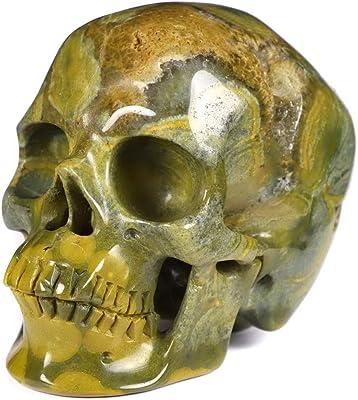 "Skullis 5.0"" Ocean Jasper Super Realistic Crystal Skull, Hand Carved Gemstone Fine Art Sculpture, Reiki Healing Stone Statue."