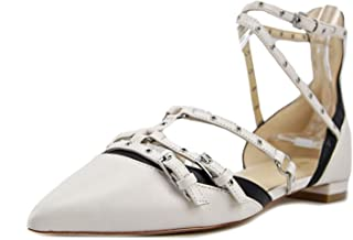 NINE WEST Womens Aweso Leather Pointed Toe Ankle Strap Slide, White, Size 8.5