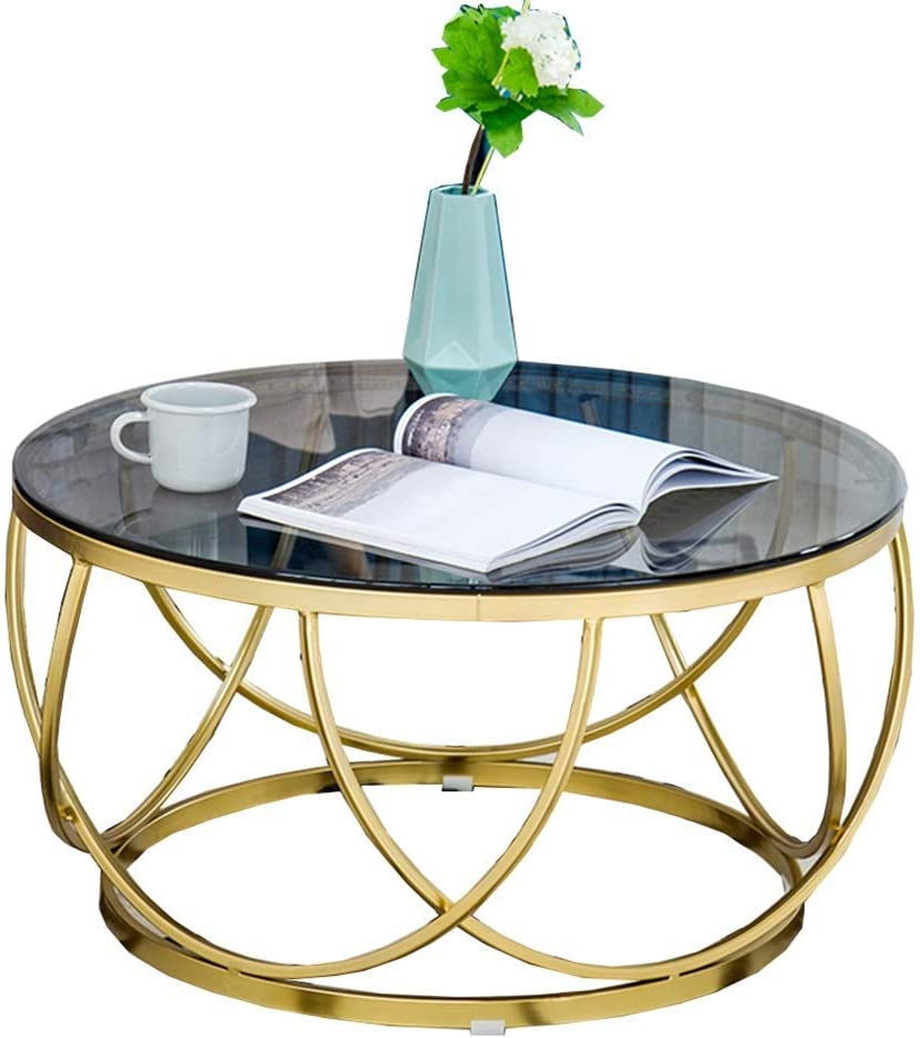 Home&Selected Furniture/Side Table Nordic Living Room Tempered Glass Sofa Side Table Balcony Iron Art Coffee Table Small Round Table,Gold,23.6'' ;17.7'' (Color : Black Glass) (Color : Black Glass)