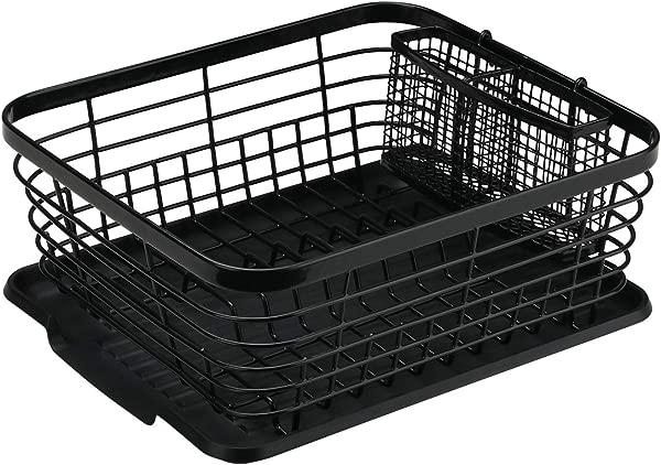 Denozer Kitchen Sink Dish Drainer Rack With Drainboard And Utensils Basket Black