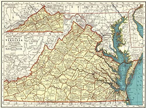 1942 Antique Virginia Map Original Vintage Atlas Map of Virginia Not a Reprint Home Office Decor Gallery Wall Art #1144