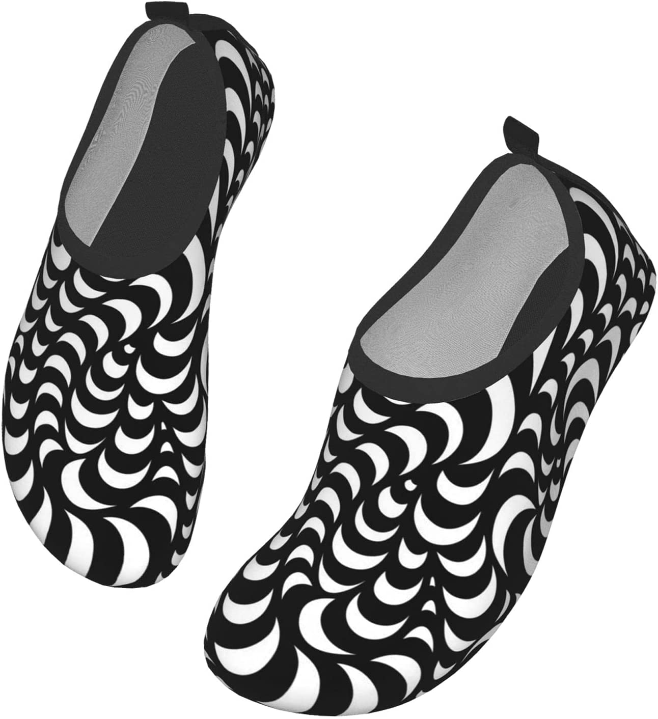 NA Black White Pattern Men's Women's Water Shoes Barefoot Quick Dry Slip-On Aqua Socks for Yoga Beach Sports Swim Surf